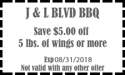 5 dollars off 5 pounds of wings or more Special